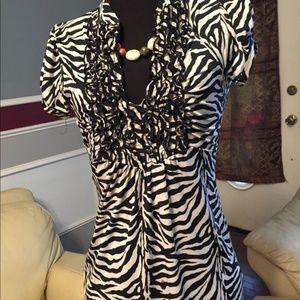 HeartSoul Zebra Print Shirt Dress Small A7